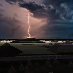 """Lightning strike on Monks Mound"""