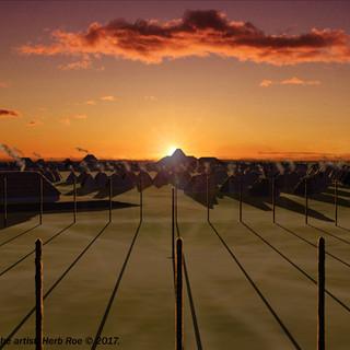 """Winter solstice sunrise over Fox Mound at Cahokia"""