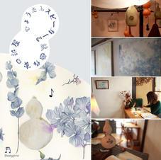 ひょうたんスピーカーと絵画作家の部屋