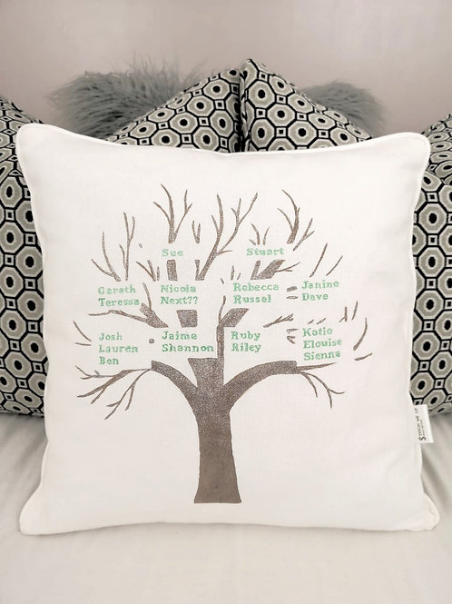 Hand Painted Family Tree Cushion