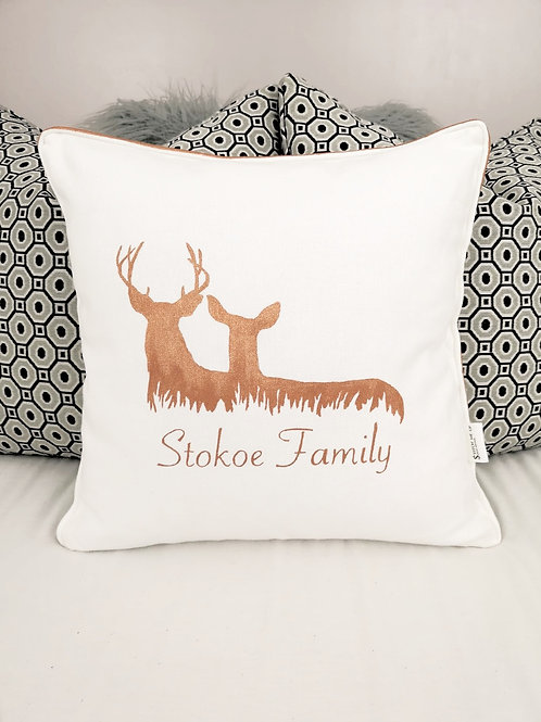 Hand Painted Family Deer Cushion