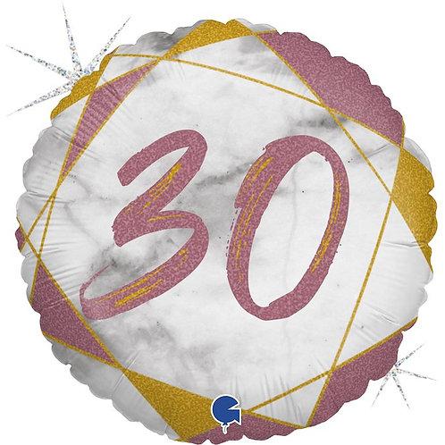 Цифра на круглом шаре 30 розовая