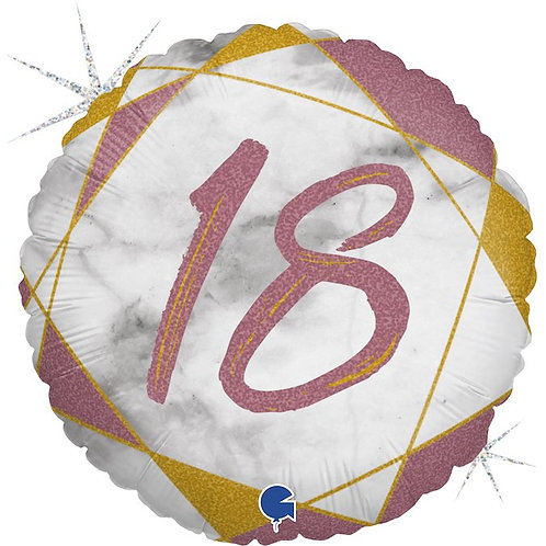 Цифра на круглом шаре 18 розовая