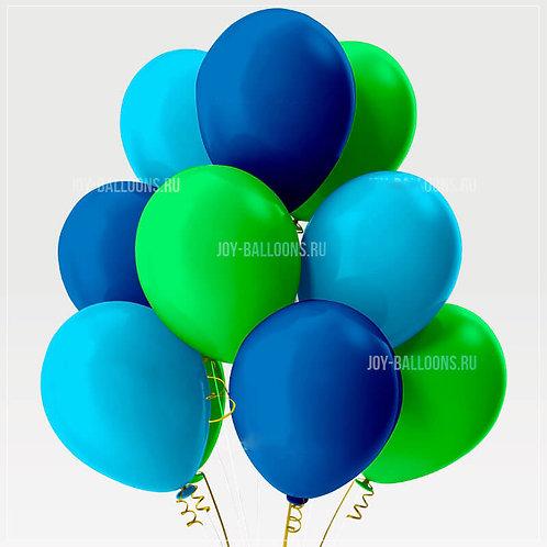 Шары пастель - синие-голубые-зеленые