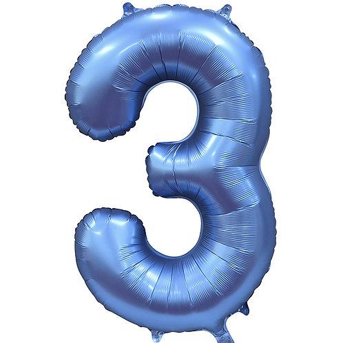 Цифра Синий Сатин  от 0 до 9
