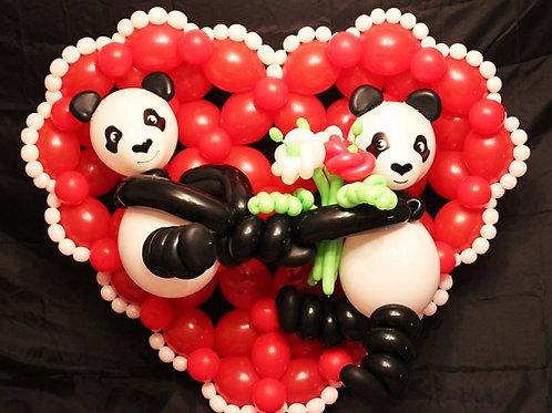 панно сердце с мишками панда