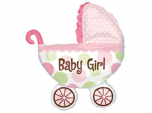 Шар детская коляска, розовый