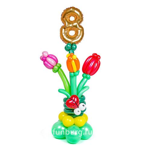 Букет тюльпанов с цифрой 8
