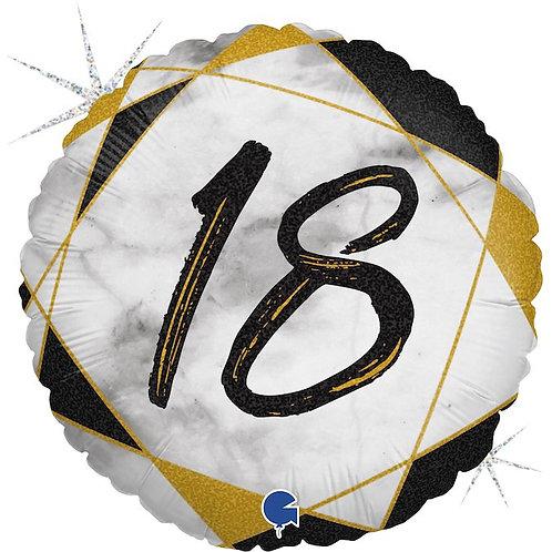 Цифра на круглом шаре 18 черная