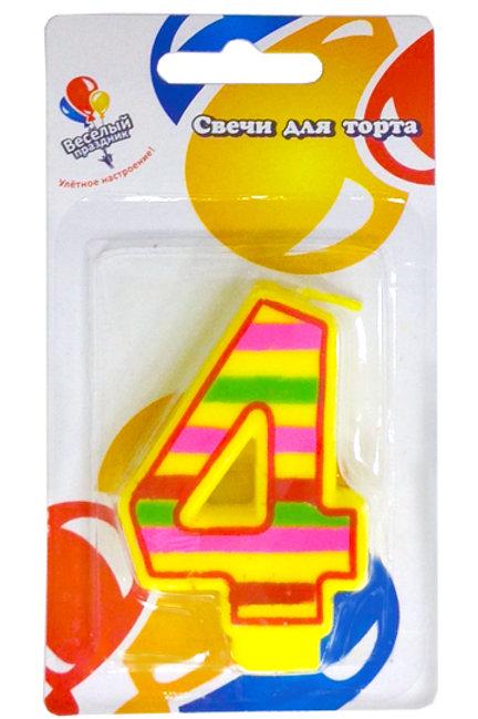 Свеча для торта 4 красочная