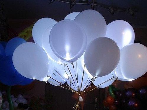 БЕЛЫЕ Светящиеся шары № 8 (25шт) свечение постоянное