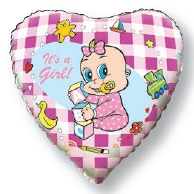 Шар  Сердце -Новорожденная девочка