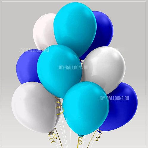 Шары пастель - синие-голубые-белые