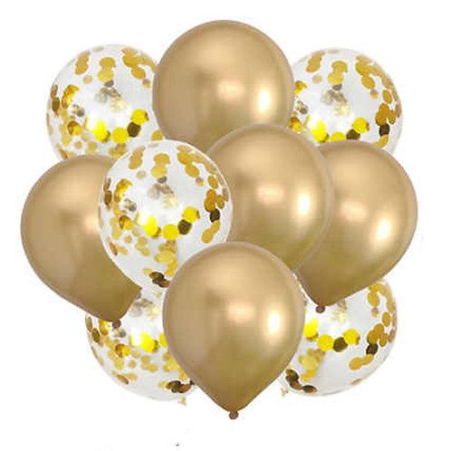 Набор из 10 шаров золото хром