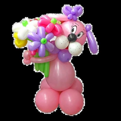 Собачка девочка с букетом