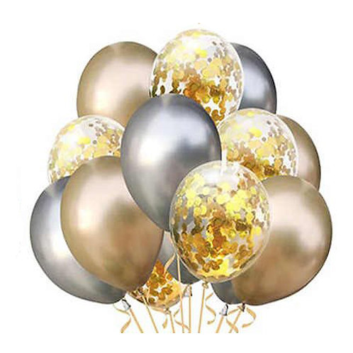 Набор из 15 шаров хром серебро+золото +конфетти