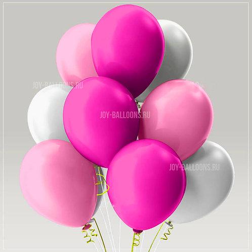 Шары пастель - розовые-белые-фуксия