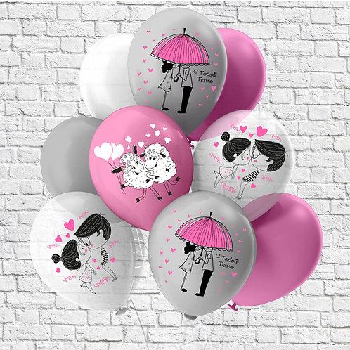 """Облако шаров """"Вдвоём"""" розовый, серебро, прозрачный"""