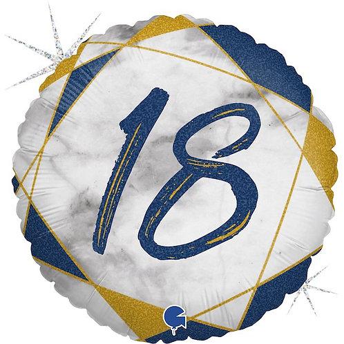 Цифра на круглом шаре 18 синяя