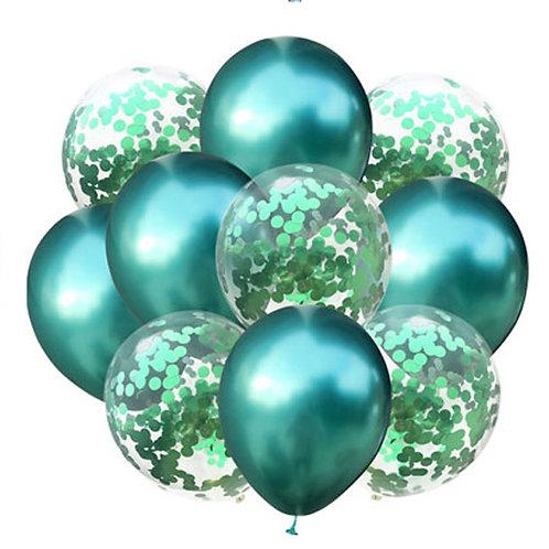 Набор из 10 шаров зеленый хром