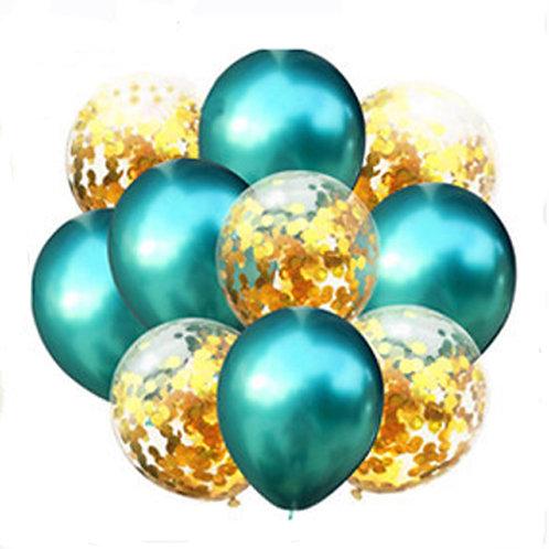 Набор из 10 шаров зеленый хром и золото
