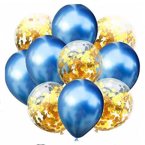 Набор из 10 шаров синий хром и золото