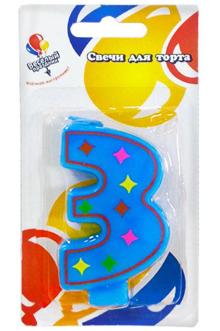Свеча для торта 3 красочная