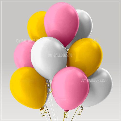 Шары пастель - розовые-белые-желтые