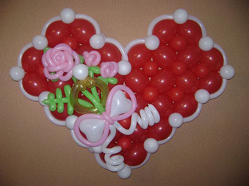 "Панно ""сердце с розой"""