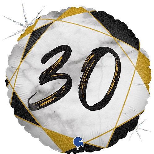 Цифра 30 на круглом шаре