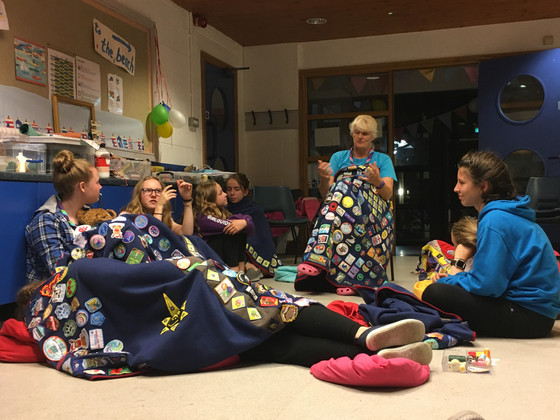The Guides are all fast asleep but the Senior Section are still up and busy gossiping!!