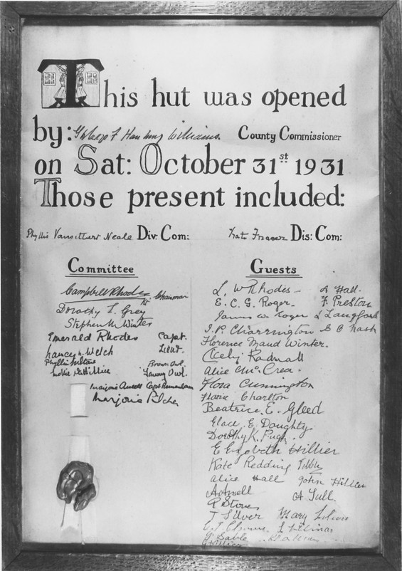 Certificate of the opening of the first Wargrave Guide Hut