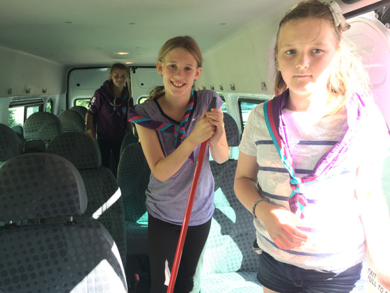 Helping to clear out the minibus earlier today