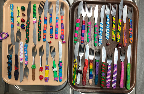 The finished cutlery... it just needs to go into the oven now
