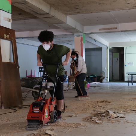 Gran brigada de limpieza adelanta el acondicionamiento del Súper Solidario Coop