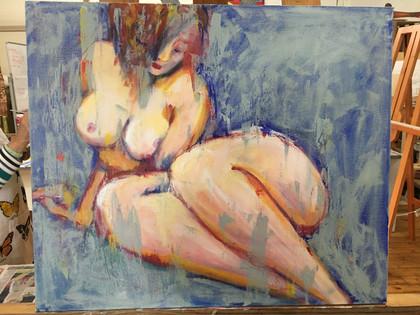 Seated Blue Nude