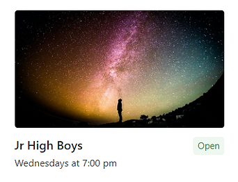 Boy looking at the stars (Jr High Boys)