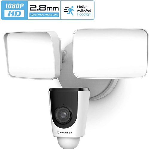 Amcrest SmartHome 1080p WiFi Outdoor Security Camera with Floodlight.