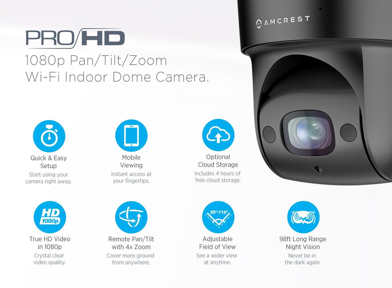 ProHD Indoor WiFi PTZ (4x Optical Zoom) 1080P Wireless IP Camera