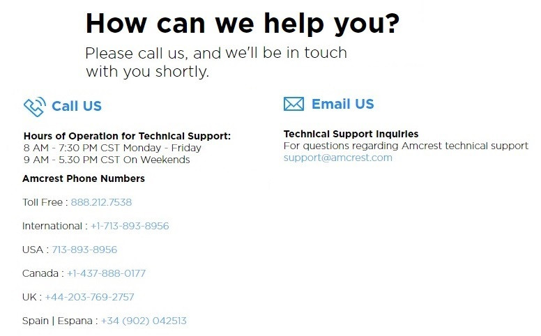 Support contact numbers
