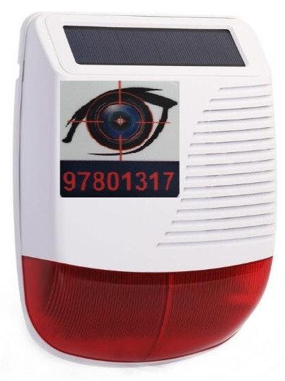 Outdoor wireless strobe siren solar powered with red flash light 110db.