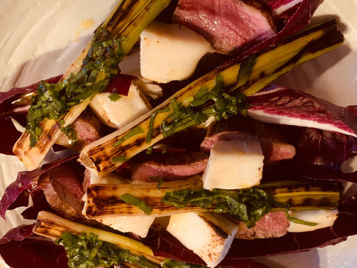 Paula McIntyre's Grilled Lamb salad with Torched Corleggy Goat Cheese, Grilled Leeks Wild Garlic
