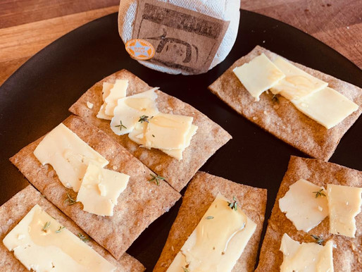 Stout Crackers with Corleggy Drumlin Cheese, Honey and Thyme - Paula McIntyre