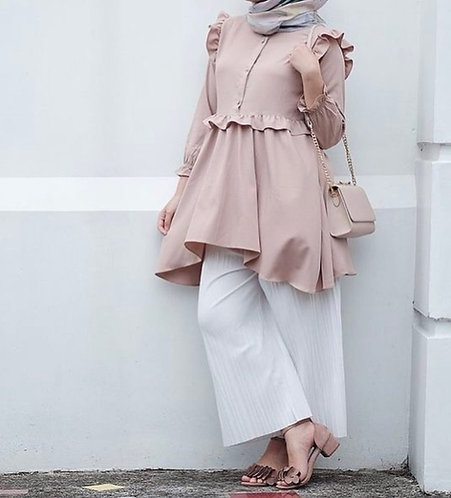 Tea Pink Frock with White Trousers
