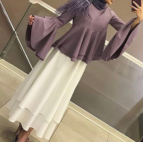 Purple Shirt with Double Layer Skirt