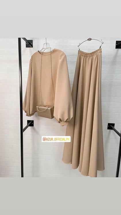 Beige shirt and skirt