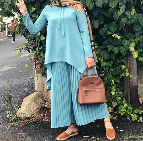 Light Blue Shirt with Pleated Trousers