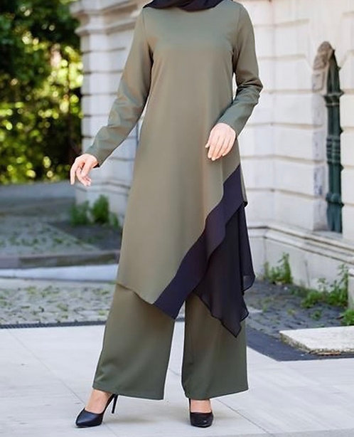 Moss Green Dress with Black