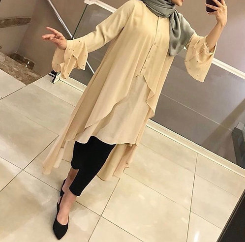 Cream Color Shirt with Black Trousers