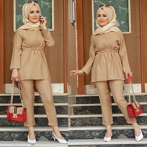 Beige Frock with Trousers